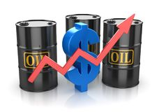 Oil Barrel and Dollar Sign. This is a 3d Rendered Computer Generated Image. Isolated on White stock illustration