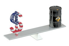Oil barrel and dollar on swing Royalty Free Stock Image