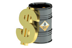 Oil barrel and dollar symbol Royalty Free Stock Photography