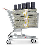 Oil barrel and dollars in shopping cart Stock Image