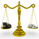 Oil barrel and dollars sing on a golden scales. Stock Photos