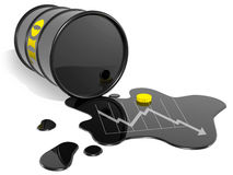 Oil barrel down Stock Image