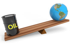 Oil barrel and earth globe on a scales. Stock Photos