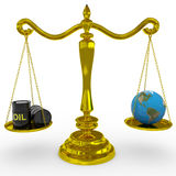 Oil barrel and earth globe on a scales. Royalty Free Stock Images