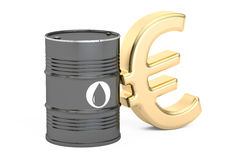 Oil barrel and euro symbol, 3D rendering. On white background Stock Photo