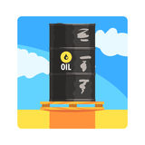 Oil Barrel Famous Touristic Attraction Of United Arab Emirates. Traditional Tourism Symbol Of Arabic Country. Colorful Vector Illustration With Travelling royalty free illustration