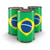Oil barrel with flag of Brazil Royalty Free Stock Images