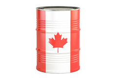 Oil barrel with flag of Canada. Oil production and trade concept Stock Images