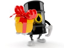 Oil barrel. With gift isolated on white background royalty free illustration