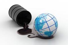 Oil barrel with globe Stock Photos