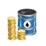 Oil barrel with golden coins isolated on white Stock Photos