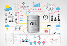 Oil barrel goods with blue red infographic icons and graphs around Stock Photos