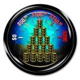 Oil barrel graph on globe Royalty Free Stock Photo