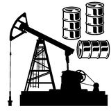 Oil barrel graph with red arrow pointing down. Vector illustrati. On royalty free illustration