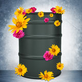 Oil barrel on grey Royalty Free Stock Images