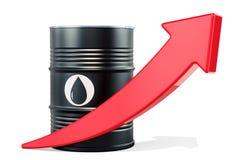Oil barrel with growing arrow. 3D rendering vector illustration