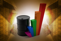 Oil barrel with growth graph. In color background Stock Photos