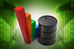 Oil barrel with growth graph. In color background royalty free illustration