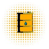 Oil barrel icon, comics style. Oil barrel icon in comics style on a white background vector illustration