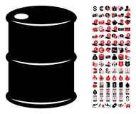Oil Barrel Icon with 90 Bonus Pictograms. Oil barrel icon. Vector illustration style is flat iconic symbols in black and red colors. Bonus contains 90 icons vector illustration