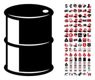 Oil Barrel Icon with 90 Bonus Pictograms. Oil barrel icon. Vector illustration style is flat iconic symbols in black and red colors. Bonus contains 90 icons stock illustration