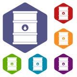 Oil barrel icons set hexagon. Isolated vector illustration royalty free illustration