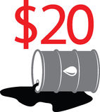 Oil Barrel Illustration 06. Oil Barrel Illustration showing the price of oil falling to $20 a barrel stock illustration