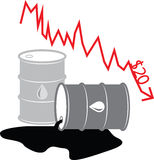 Oil Barrel Illustration 07. Oil Barrel Illustration showing the price of oil falling to $20 a barrel stock illustration