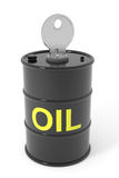 Oil barrel with key. Royalty Free Stock Photos