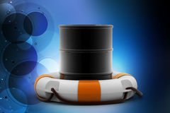 Oil barrel with life buoy. In color background royalty free illustration