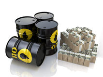Oil barrel and money stock photography