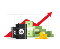 Oil barrel, money pile, red rising graph and upward arrow Stock Photo