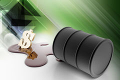 Oil barrel pour oil with dollar. In color background royalty free illustration