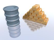 Oil barrel price increase. How many gold bars now for an oil barrel vector illustration