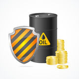 Oil Barrel Price Safety Concept. Vector. Oil Barrel Price Safety Concept on White Background. Security Industry. Vector illustration royalty free illustration