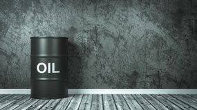 Oil Barrel in the Room. Single Black Oil Barrel Against the Wall of a Room, 3D Render royalty free illustration