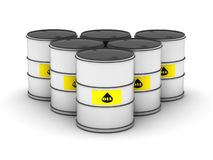 Oil barrel row Royalty Free Stock Photos