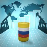 Oil barrel with Russian flag. On the background of the world map with oil derricks and growth chart stock illustration