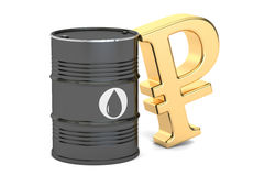 Oil barrel and Russian ruble symbol, 3D rendering Stock Images