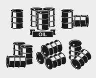 Oil barrel set. Vector. Illustration royalty free illustration