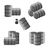 Oil barrel set. Vector royalty free illustration