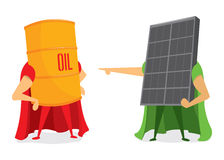 Oil barrel and solar energy panel battle Royalty Free Stock Photo