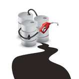 Oil barrel spill Royalty Free Stock Photo