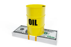 Oil Barrel with a stack of dollars Stock Photo