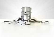 Oil barrel stuck into ground with flare concept Royalty Free Stock Photo