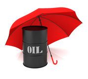 Oil Barrel and Umbrella Stock Photos