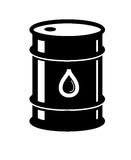 Oil barrel. Vector black Oil barrel icon on white background stock illustration