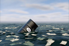 Oil barrel in water. price oil down. Royalty Free Stock Photos