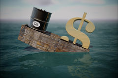 Oil barrel in water. price oil down. Stock Photos