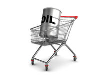 Oil barrell in shopping cart. Abstract 3d illustration of shopping cart with oil barrell inside royalty free illustration